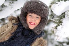 детеныши женщины снежка портрета Стоковые Изображения