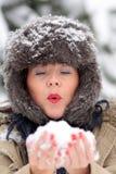 детеныши женщины снежка Стоковые Фотографии RF