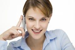 детеныши женщины сотового телефона говоря Стоковое Изображение RF