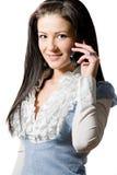 детеныши женщины сотового телефона говоря Стоковое Изображение