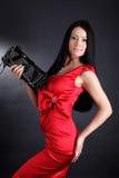 детеныши женщины способа платья красные Стоковая Фотография RF