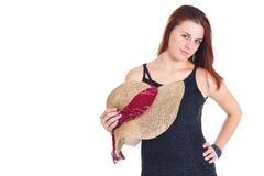 детеныши женщины сторновки удерживания шлема Стоковое Фото