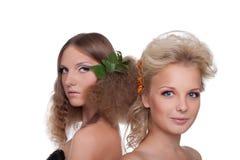 детеныши женщины типа волос 2 цветка Стоковые Изображения