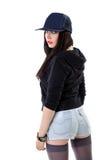 детеныши женщины типа grunge бейсбольной кепки Стоковая Фотография