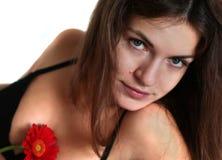 детеныши женщины цветка красные Стоковая Фотография RF