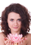 детеныши женщины цветка стороны красотки Стоковые Фотографии RF