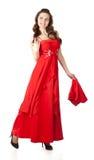 детеныши женщины шали платья красные Стоковое Изображение