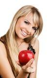 детеныши женщины яблока жизнерадостные Стоковая Фотография RF
