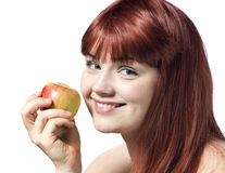 детеныши женщины яблока милые Стоковое Изображение