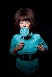 детеныши женщины lollipop Стоковое Изображение