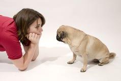 детеныши женщины pug Стоковое фото RF