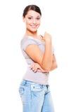 детеныши женщины smiley джинсыов Стоковые Изображения RF