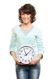 детеныши женщины smiley часов Стоковые Фото