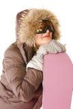 детеныши женщины snowboard клобука Стоковое Изображение RF