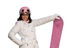 детеныши женщины snowboard шлема розовые Стоковые Фотографии RF