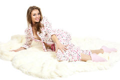 детеныши изображения пижам девушки сладостные белые Стоковое Изображение