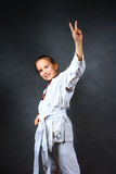 детеныши кимоно девушки белые стоковое изображение