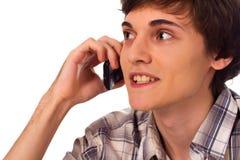 детеныши клетчатого телефона человека говоря Стоковые Изображения