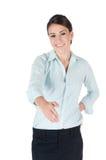 детеныши коммерсантки удлиняя изолированные рукопожатием Стоковое фото RF