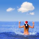 детеныши моря santa девушки Стоковое фото RF