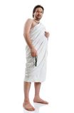 детеныши мусульманского пилигрима человека clo традиционные белые Стоковые Изображения RF
