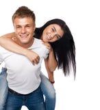 детеныши пар вскользь одежды счастливые Стоковое Изображение RF