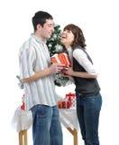 детеныши подарков пар рождества счастливые Стоковое Изображение