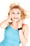детеныши портрета белокурой девушки радостные стоковые изображения