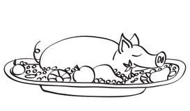 детеныши свинины контура иллюстрация штока
