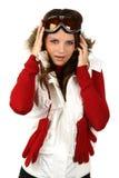детеныши сноубординга портрета девушки счастливые Стоковое Фото