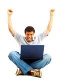 детеныши счастливого человека работая Стоковые Изображения RF