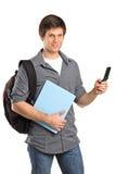 детеныши текста мобильного телефона сообщения мальчика печатая на машинке Стоковая Фотография RF