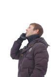 детеныши телефона человека говоря Стоковые Фотографии RF