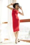 Детеныши уменьшают сексуальную женщину в красном платье Стоковые Изображения RF