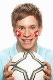 детеныши футбола флага вентилятора покрашенные мужчиной швейцарские Стоковое Фото
