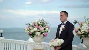 Детеныши холят на стойках свадебной церемонии на алтаре свода и ожиданий для невесты Wedding морем акции видеоматериалы