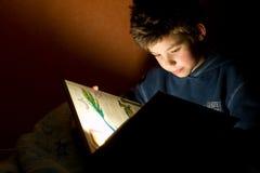 детеныши чтения мальчика книги Стоковые Изображения