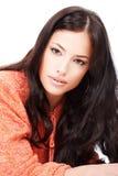 детеныши шерстей свитера красивейшей девушки померанцовые Стоковые Фотографии RF