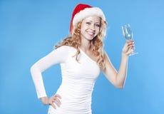 детеныши santa девушки шампанского выпивая Стоковое Изображение RF