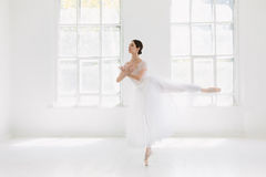 Детеныш и неимоверно красивая балерина представляющ и танцующ в белой студии Стоковое Фото