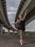 Детеныш и неимоверно красивая балерина представляющ и танцующ o Стоковые Изображения RF