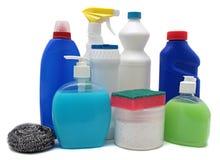 Детержентные бутылки изолировали белизну химикат Стоковые Изображения RF