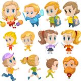 Дети аниме, характеры маленьких детей Стоковые Изображения