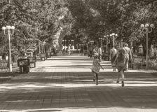Дети бежать вокруг в парке Стоковые Изображения