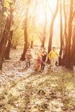 Дети бежать совместно в парке Стоковая Фотография RF