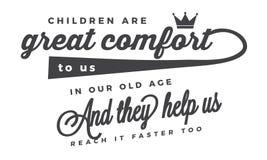 Дети большой комфорт к нам в нашей старости иллюстрация штока
