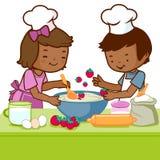 Дети варя в кухне иллюстрация штока