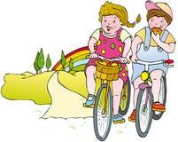 дети велосипеда иллюстрация штока