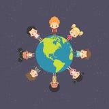 Дети вокруг земли Иллюстрация штока