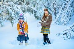 Дети в древесинах зимы стоковые изображения rf